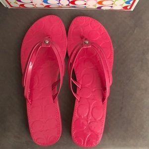 Coach Pink Flipflop Sandals- NEW